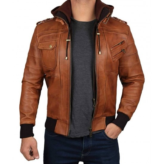 Mens 100% Real Leather Hand Waxed Removable Hood Leather Jacket