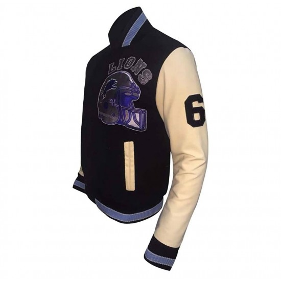Mens Beverly Hill Cop Detroit Lions Letterman Vintage Jacket with Leather Sleeves