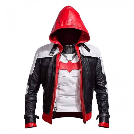 Mens Arkham Knight Game Red Hood Real Leather Jacket