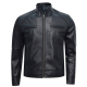 Mens Fashion Style Sport Biker Genuine Leather Jacket
