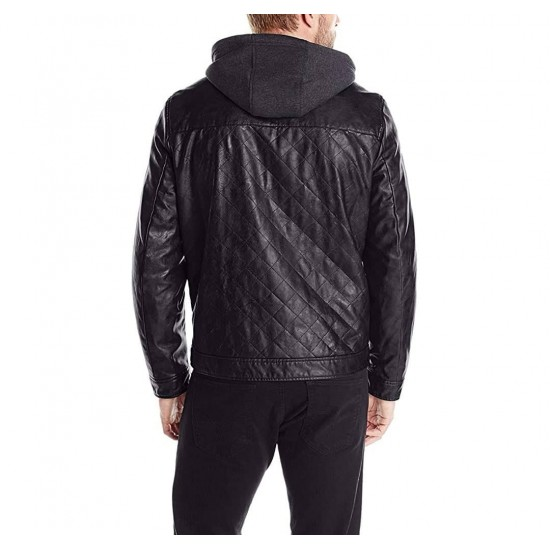 Mens Quilted Real Leather Moto Jacket with Hood