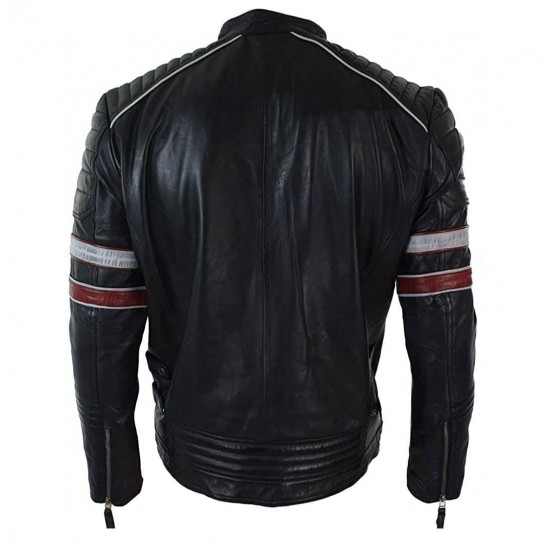 Mens Racing Biker Red White Stripes Real Leather Casual Fit Moto Jacket