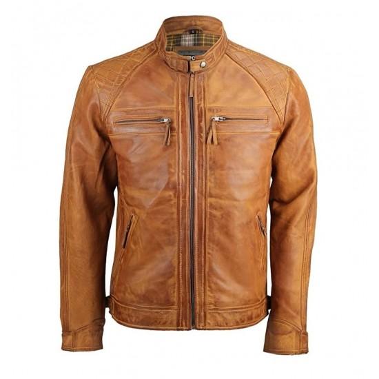 Mens Real Leather Washed Vintage Zipped Smart Casual Biker Jacket