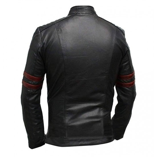 Mens Red Strips Hybrid Mayhem Biker Style Fight Club Real Leather Jacket
