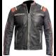 Mens Retro 3 Vintage Cafe Racer Distressed Black Biker Motorcycle Real Leather Jacket