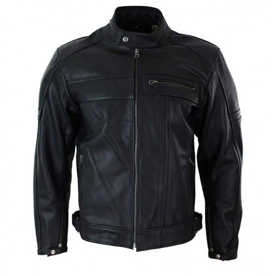 Mens Retro Slim Fit Motorbike Real Leather Jacket