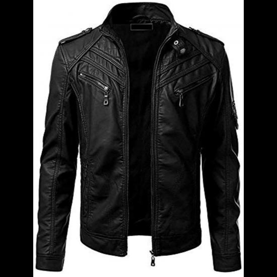 Mens Retro Slim Fit Vintage Biker Moto Black Real Leather Jacket