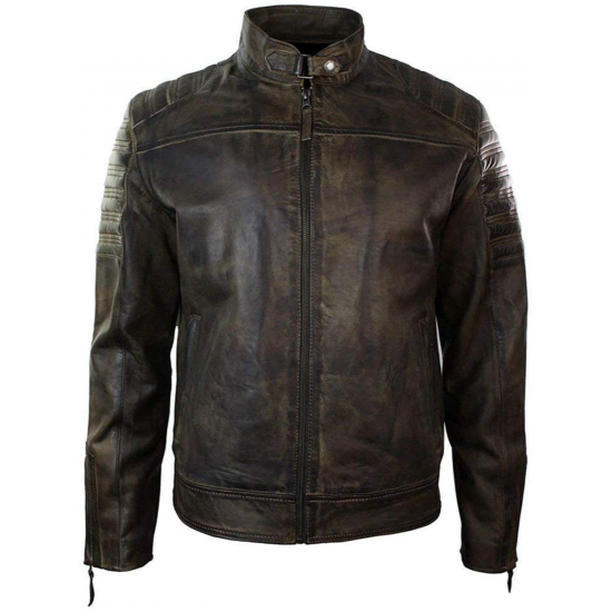Mens Retro Vintage Distressed Real Washed Urban Biker Leather Jacket