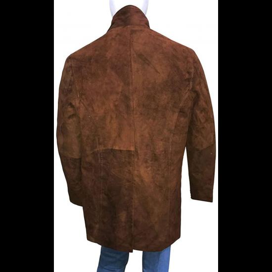 Mens Robert Taylor Sheriff Walt Long mire Brown Suede Leather Coat