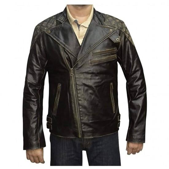 Mens Skull Reinforced Ride Vintage Distressed Biker Genuine Leather Jacket
