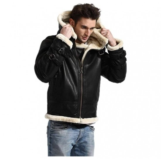 Mens Smart Look Bomber Shearling Hoodie Real Leather Jacket