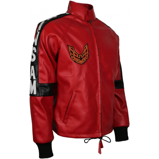 Mens Smokey and The Bandit Burt Reynolds Red Bomber Leather Jacket