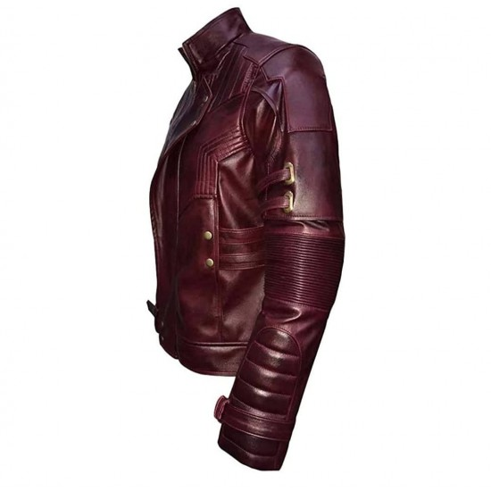 Mens Star Lord Chris Pratt Maroon Guardians of The Galaxy 2 Real Leather Jacket