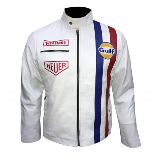 Mens Steve McQueen Leman Driver Grandprix Gulf Leather Jacket