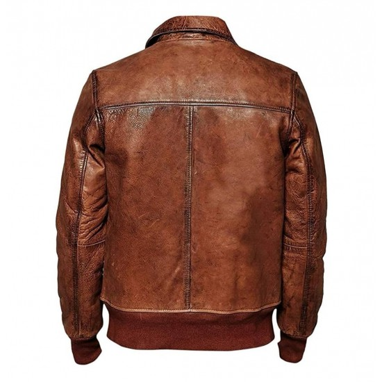 Mens Stylish Look Vintage Bomber Waxed Real Leather Jacket