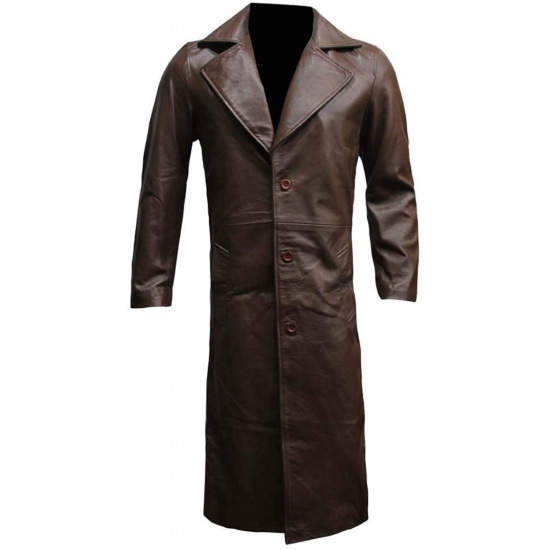Mens Superman VS Batman Dawn of Justice Knightmare Real Leather Trench Coat