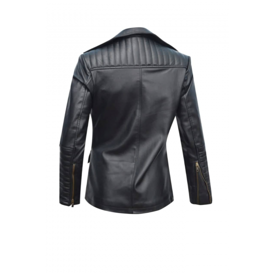Womens Office Wear Black Real Sheep Leather Jacket