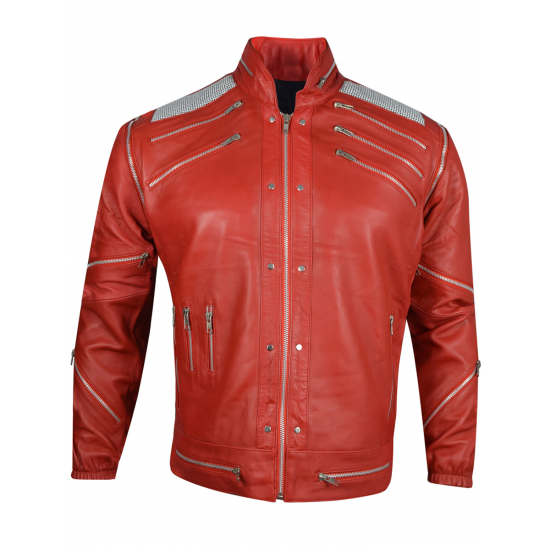 Michael Jackson Beat It Thriller Red Real Leather Jacket